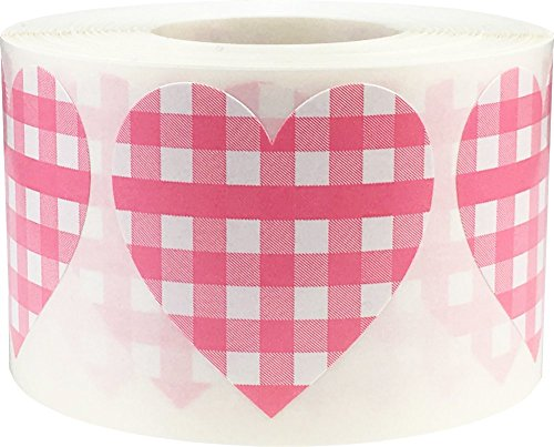 Baby Pink Buffalo Plaid Heart Stickers for Baby Showers Valentines Day Crafting 1 1/2 Inch Heart Shape 500 Adhesive Labels