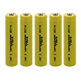 (5-PACK) Exell AAA 1.2V 300mAh NiCD Button Top Rechargeable Batteries for high power static applications (Telecoms, UPS and Smart grid), electric mopeds, meters, radios, RC devices, electric tools