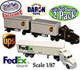 "Daron Die-cast UPS (United Parcel Service) & FedEx Ground Tractor Trailers (Scale 1/87) ""Matty's Toy Stop"" Exclusive Gift Set Bundle - 2 Pack"