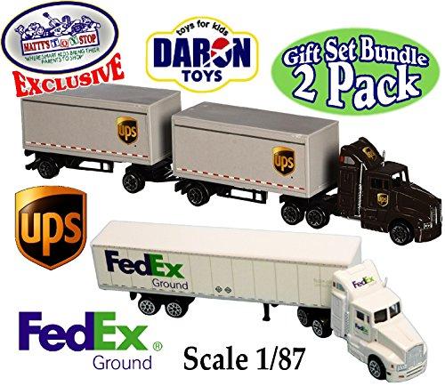 daron-die-cast-ups-united-parcel-service-fedex-ground-tractor-trailers-scale-1-87-mattys-toy-stop-ex