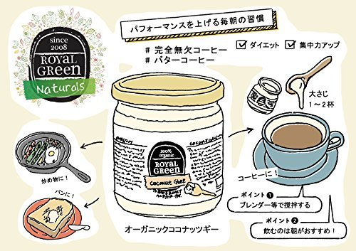 Organic coconut & [to mix only with butter coffee (faultless coffee)] ghee (grass-fed butter) 325ml EU organic certification [Parallel import] by Royal Green (Image #2)