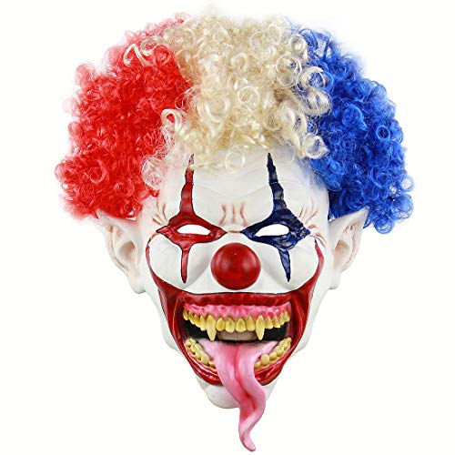 Hophen Halloween Killer Scary Evil Clown Afro Wig Snake Tongue Latex Mask Horror Cosplay Costume Prop (Afro Wig) ()
