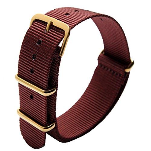 Nato Style Waterproof Ballistic Nylon Watch Strap Watch Bands Bracelet (18mm, Gold Buckle/Wine Red)