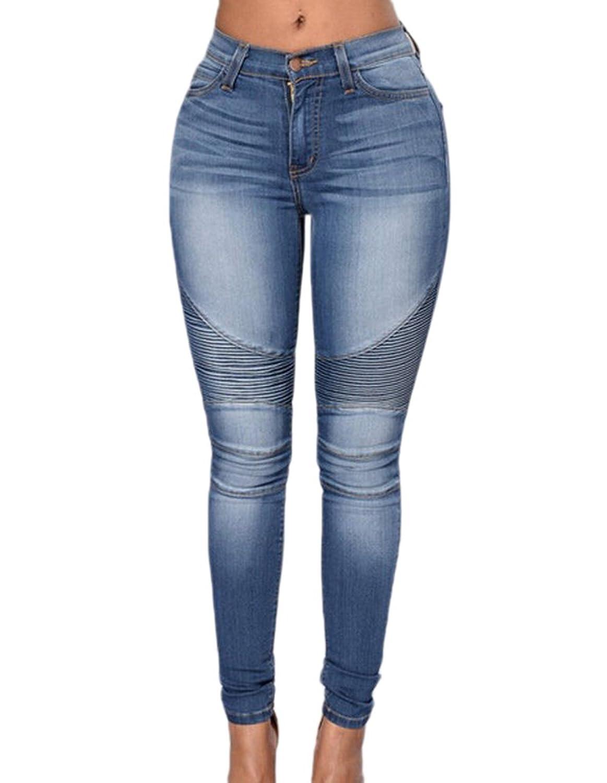 c6ef2bd5b4e47e Heißer Verkauf Frauen Denim Jeans Motorrad Biker Jeans Hosen Stretch Denim  Slim Fit Blue Jeans Hose · Kostenloser Versand ZEZKT Damen Elegant Ärmellos  ...