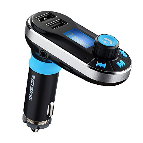 [Upgraded Version] VicTsing Bluetooth MP3 Player FM Transmitter Hands-free Car Kit Charger, Dual USB Charging 5V/2.1A Output, Micro SD/TF Card Reader Slot for iPhone 7 SE 6s 6s Plus iPhone 6 6 Plus, iPad, etc - Silver