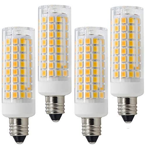 E11 LED, All-New Dimmable E11 Candelabra Base Bulbs, 75W 100W Equivalent, 120V 8W JD T4 Bulb, 102X2835SMD 360 degree Indoor lighting (Pack of 4) (Warm ()