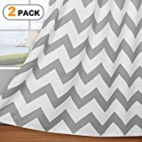 Cheap Flamingo P Traditional Window Drapes Chevron Pattern Thermal Insulated Blackout Curtain for Living Room Grommet Window Treatment Panel, W52 x L84 inch, Sold In Pair Dove Gray