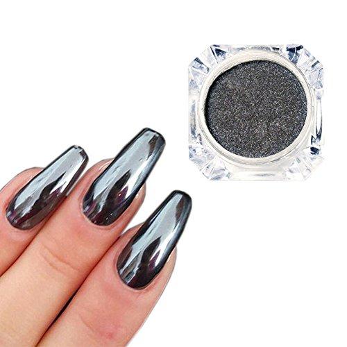 MEILINDS Nail Art Chrome Black Mirror Powder Shiny Ultra Thin Dazzling Pigment Dust Nail Glitter Metal Decor 1g/Bottle