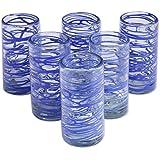 NOVICA Clear Blue Eco-Friendly Blown Glass High Ball Glasses, 11 oz, Sapphire Swirl' (Set of 6)