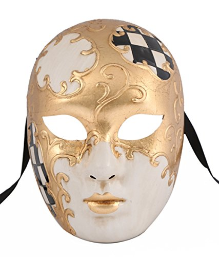 [Luxury Mask Full Face Venetian Party Masquerade Mask With Designs] (The Joker Masquerade Costume)