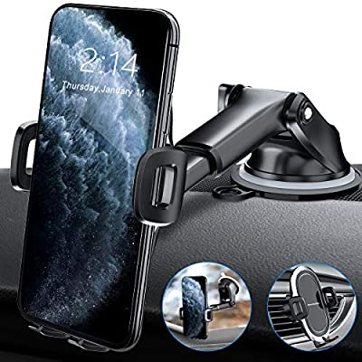 Amwanan Car Phone Mount, Hands-Free Cell Phone Holder for Dashboard, Windshield and Air Vent with Suction Pad Compatible with iPhone, Samsung, LG, Google and Other Smartphones