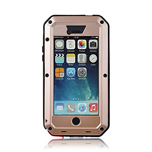 iPhone 5C Case,Gorilla Glass Luxury Aluminum Alloy Protective Metal Extreme Shockproof Military Bumper Heavy Duty Cover Shell Case Skin Protector for Apple iPhone 5C (Gold) by 3C-Aone