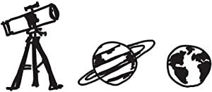 "Cute Cartoon Astronomy/Planet/Telescope Art - Black Vinyl Decal for 13"" MacBook"