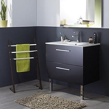 meuble de salle de bain noir laqu brillant en 80 cm - Meuble Salle De Bain Noir Laque