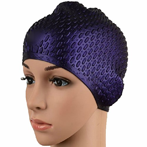Natuworld Classic Silicone Long Hair Swim Cap Adult Unisex Women and Men Swim Waterproof Thick Ear Wrap Hat - Many Colors ()