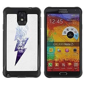 """único patrón Impacto Shock-Absorción y Anti-Arañazos Funda Carcasa Case Bumper Para SAMSUNG Galaxy Note 3 III / N9000 / N9005 , ( Blue Lion alto voltaje del peligro relámpago"""" )"""