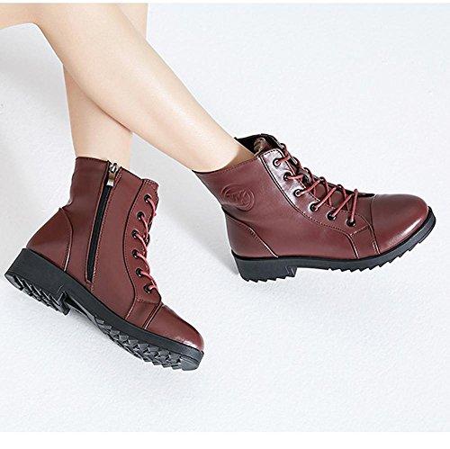 corta tacco 36 in stivali RED laccio Femmina scarpe basso casual caldo Martin cerniera pelle più 36 RED piatto spessi con wdjjjnnnv peluche qxwE7f1n1