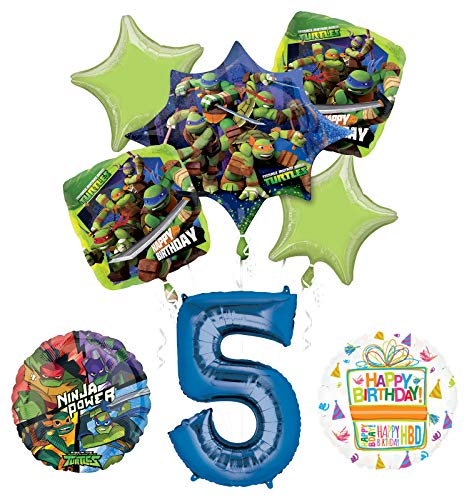 Teenage Mutant Ninja Turtles 5th Birthday Party Supplies and TMNT Balloon Bouquet Decorations]()
