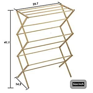 Indoor Folding Bamboo Clothes Drying Rack Dry Laundry and Hang Clothes