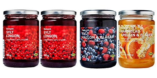 IKEA Organic Preserves Bundle - Includes Total 4 Preserves - Two SYLT LINGON Lingonberry Organic Preserves, One Rasberry&Blueberry Jam and One Orange&Elderflower Marmalade