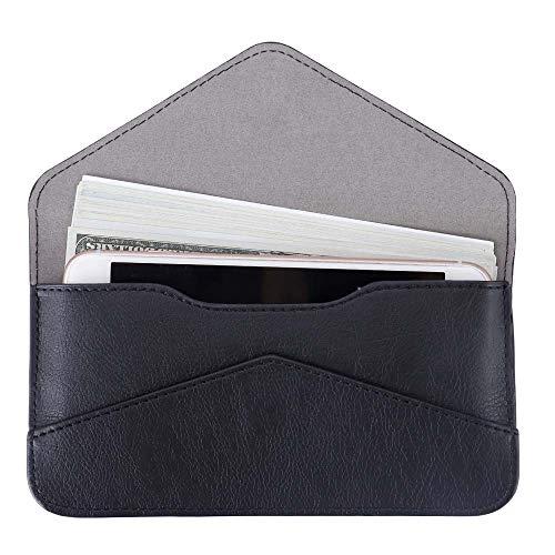 - Women's Card Wallet Envelope Style Credit Card Holder Cute Cash Wallet for Ladies (Black)