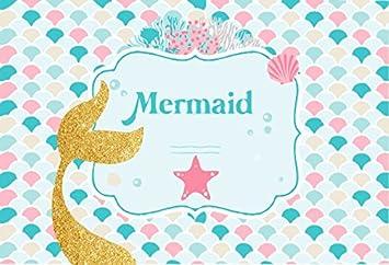 amazon com ofila mermaid backdrop 8x6 5ft girls birthday party
