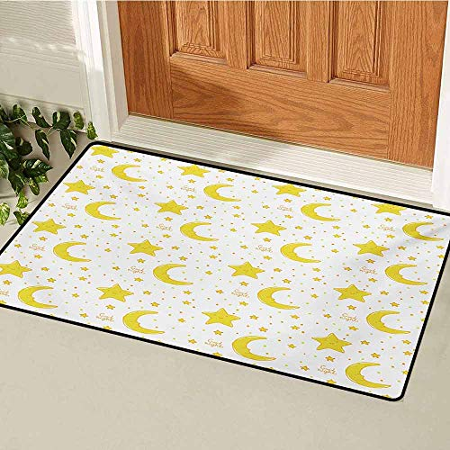 - GUUVOR Yellow and White Welcome Door mat Sleeping Crescent Moon and Stars Pattern Night Time Cartoon Illustration Door mat is odorless and Durable W15.7 x L23.6 Inch Yellow White