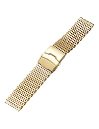 YISUYA Golden 22mm Band Stainless Steel Mesh Web Wrist Watch Band Strap Bracelet Gold Mens Womens