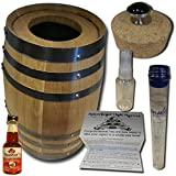 Cigar Barrel Infusion Humidor From American Oak Barrel - Cherry Bourbon Infusion Kit (5 Liter, Natural Oak With Black Hoops)