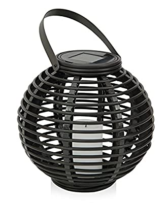 Outdoor Decorative Solar Powered Candle Lantern with Flickering Amber LED Rattan Light