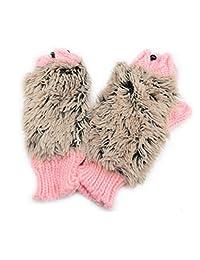Women's Cartoon Hedgehog Winter Cotton Gloves Girls' Kid' Thick Mittens by Einfachheit (Pink)