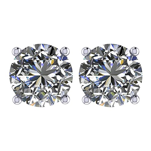 NANA Stud Earrings-Sterling Silver Round Cut Swarovski Zirconia 8.0mm (4.00cttw) White Gold Plated