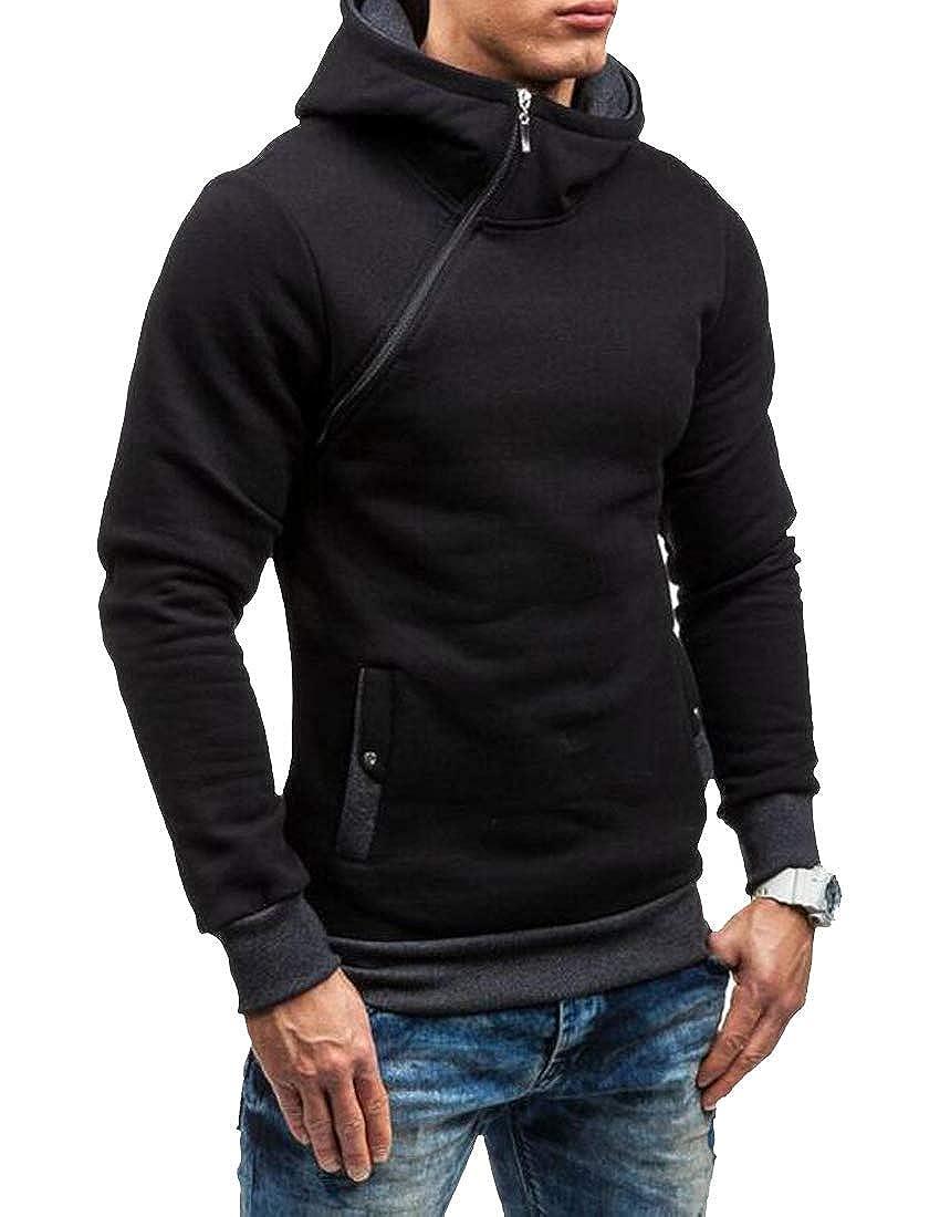 Joe Wenko Men Hoodie Plain Oblique Zipper Pullover Sport Slim Fit Sweatshirts