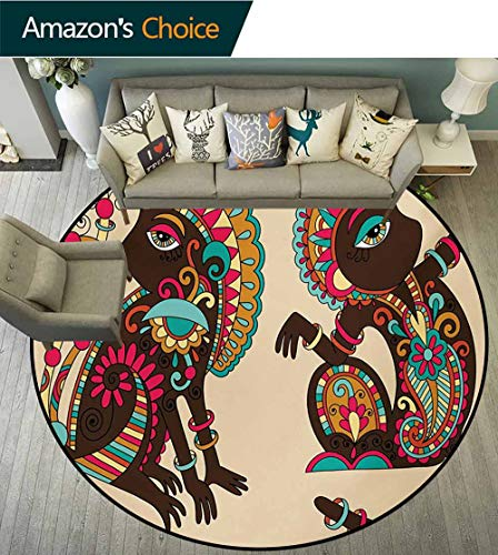 - RUGSMAT Tribal Warm Soft Cotton Luxury Plush Baby Rugs,Tribal Ethnic Patterns On A Monkey Tailed Posing Animal Wildlife Creatures Print Kids Teepee Tent Game Play House Round,Round-59 Inch