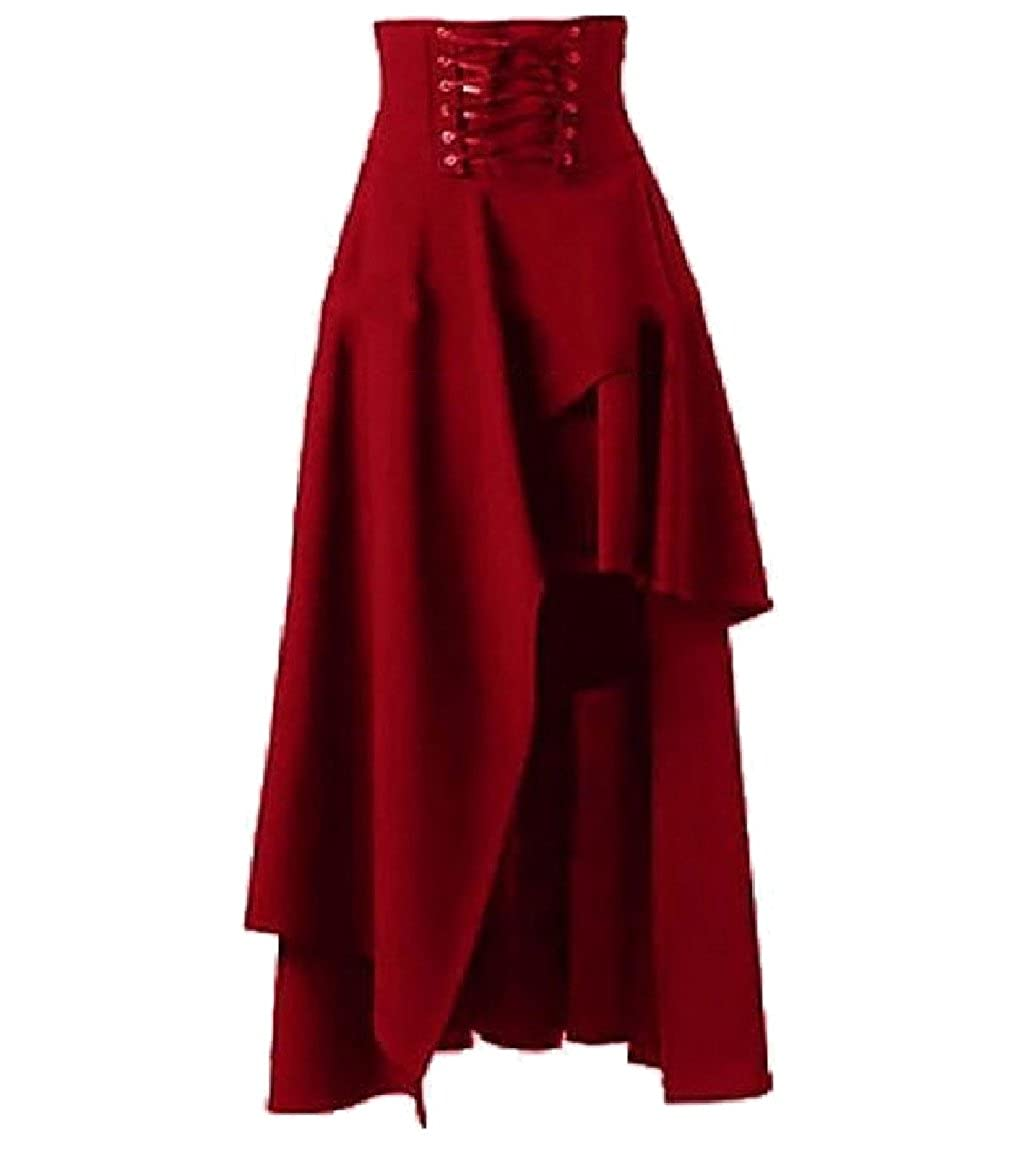 7465504e34 Winwinus Womens Hot Sale Solid Color Asymmetrical Hem Bandage Gothic Skirt  at Amazon Women's Clothing store: