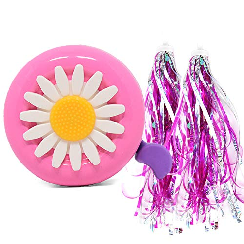 U-LIAN Kids Bike Bell Girl Bicycle Bell Pink Purple Flower with 2 Shinny Scooter Streamer Tassels