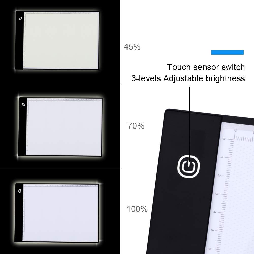 A4/portatile LED Tracing tablet Board Pad con scala per artisti puntini strass ricamo a punto croce schizzi disegno