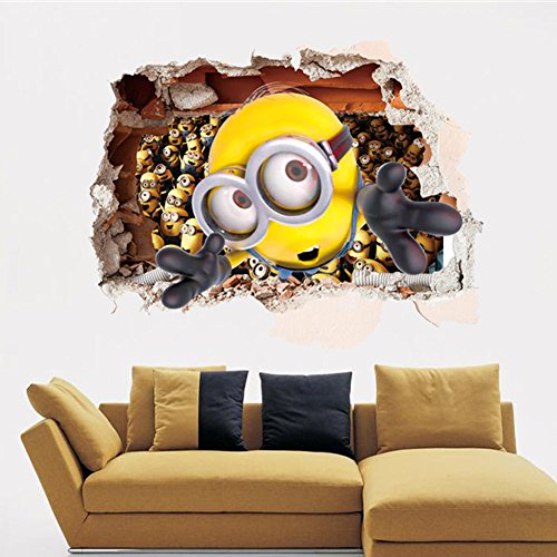 Fangeplus(TM) DIY Removable 3D Minion Smash Wall Despicable Me 2 Art Mural Vinyl Waterproof Wall Stickers Kids Room Decor Nursery Decal Sticker - Minion Diy