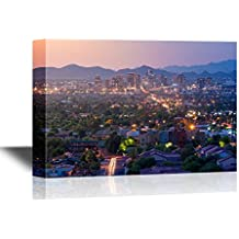 wall26 - USA City Skyline Canvas Wall Art - Top View of Downtown Phoenix Arizona at Sunset in Usa - Gallery Wrap Modern Home Decor | Ready to Hang - 24x36 inches