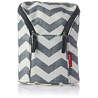 Skip Hop Insulated Breastmilk Cooler and Double Baby Bottle Bag, Grey Gingham