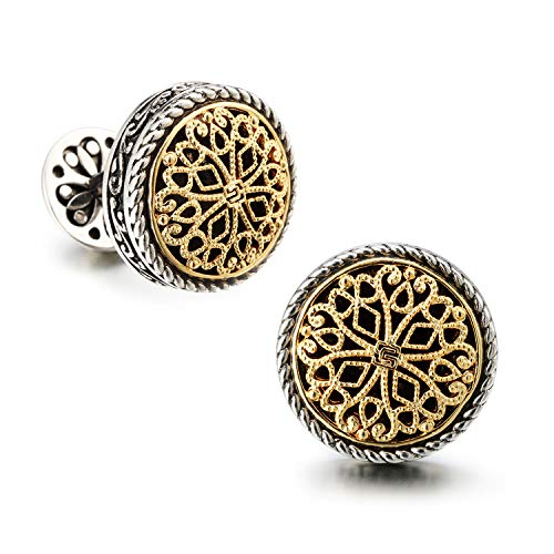 (18K Gold Plated Vintage Celtic Cross Filigree Cufflinks for Tuxedo Shirt - Best Fathers Day Gifts for Men Wedding Business with Luxury Wooden Gift)