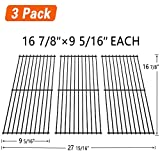 SHINESTAR Grill Grates 16 7/8'' Replacement Parts for Charbroil 461442114 463420508, Kenmore, Master Chef, Backyard, Thermos, Porcelain Coated Steel Cooking Grid (3 Pack, 16 7/8'' x 9 5/16'' Each)