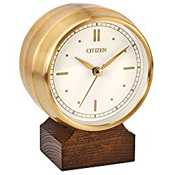 Citizen Workplace desk clock with gold-tone case on brown wood base CC3002