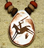 Primitive Hunter on Horse - Handmade Clay Pendant - Native American Indian - Rock Art