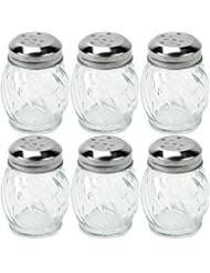 Set of 6 Spice & Cheese Shakers - 5 oz. Glass Server with Metal Lid for Parmesan and Mozzarella by Back of House Ltd.