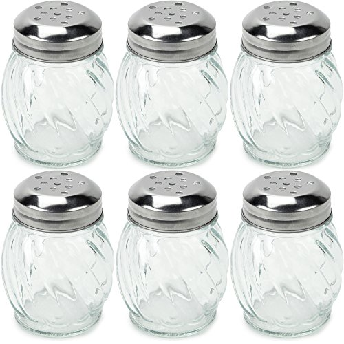 Server Cheese Grated (Set of 6 Spice & Cheese Shakers - 5 oz. Glass Server with Metal Lid for Parmesan and Mozzarella by Back of House Ltd.)