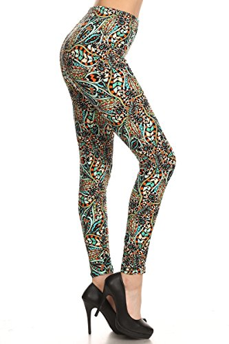 Premium Quality Ultra Soft Printed Leggings - Regular and Plus Size - 40 New Designs by Conceited (Large/X-Large, Teal Geometric)