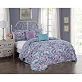 5 Piece Girls Medallion Floral Pattern Quilt Set Queen Size, All Over Beautiful Rose Flowers Boho Chic Print, Hippy Indie Style, Geometric Design Reverse Bedding, Bold Colors Lavender Purple Pink Blue