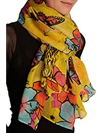Summer Flowers & Butterflies On Yellow Unisex Scarf & Beach Sarong - Scarf