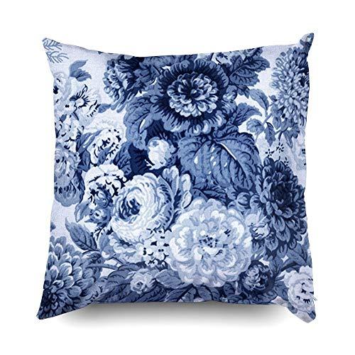 SPXUBZ Black White Indigo Blue Tone Vintage Floral Toile Cotton Throw Pillow Cover Home Decor Nice Gift Indoor Pillowcase Standar Size (Two Sides)